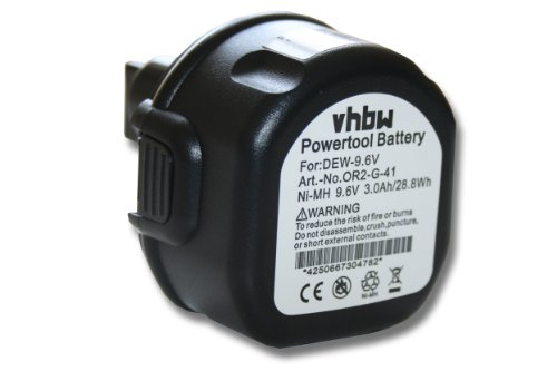 vhbw Akku passend für Black & Decker PS3200, PS3300, PS3350, PS3350K Elektrowerkzeug (3000mAh NiMH 9,6V)