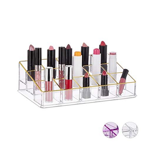 Relaxdays Lippenstifthouder, acryl, cosmetica-organizer voor lippenstift, nagellak, make-up, 15 vakken, transparant-goud