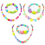 BigOtters Little Girls Necklace Bracelet, 3 Sets Kids Lovely Beaded Necklace and Bracelet Colorful Beads Jewelry Princess Dress up for Toddlers Kids Gift Pretend Play Party Favors
