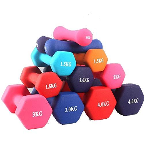 Neopren-Hantel-Set, 2 kg, 3 kg, 4 kg, 5 kg, 6 kg, 8 kg, Neopren-Hantel-Set, Gewichtheben, für Damen und Herren, lila, 4 kg
