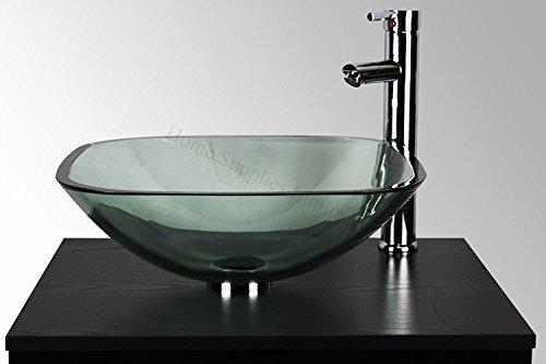 Cuenco cuadrado de cristal transparente Home Supplies–Kit de lavabo para baño lavabo