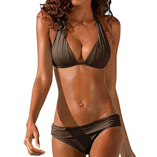 Frauen Badeanzug Halfter Bikini Set Bademode Retro Solid hängenden Hals Split Beachwear zweiteiliges Set(Braun,M)