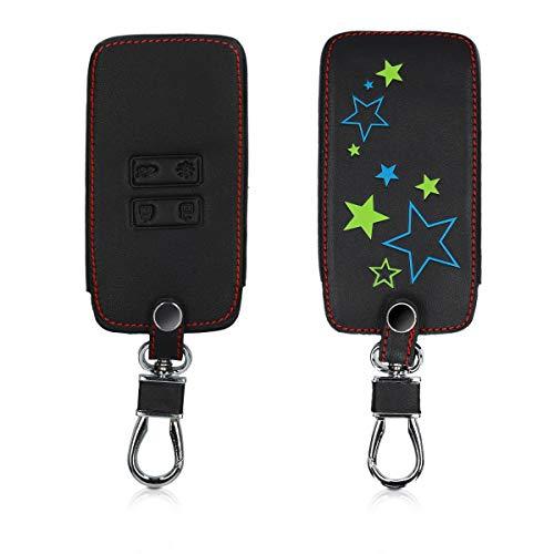 kwmobile Funda Compatible con Renault Llave de Coche Smart Key de 4 Botones (Solo Keyless Go) - Cubierta de Cuero sintético - Case para Mando y Control de Auto Varias Estrellas
