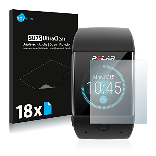 Savvies 18x Schutzfolie kompatibel mit Polar M600 Bildschirmschutz-Folie Ultra-transparent