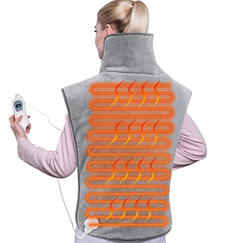 Femor Electric Heat Pad for BackShoulder and Neck Fast Heating Pain Relief 3 Heating LevelsGrey