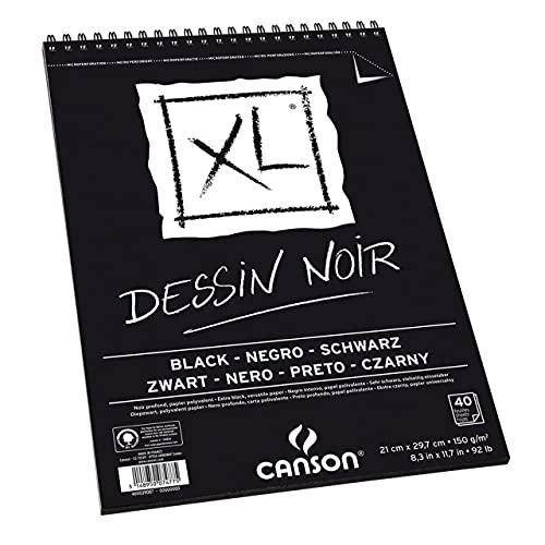 Bloco Espiralado XL A4 150g/m², Canson, 60039086, Dessin Noir, 40 Folhas