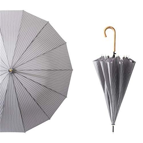 [ユリカー] 傘 長柄 レディース メンズ 日傘 14本骨 ストライプ 超軽量 UVカット 晴雨兼用 耐風撥水 雨傘 男女兼用 シンプル 大きい グレー