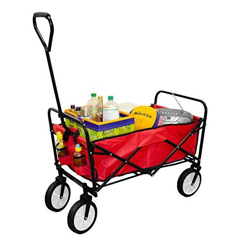 Georges Chariot de transport pliable pour le jardin, la plage, les festivals 98x53x113 cm rouge