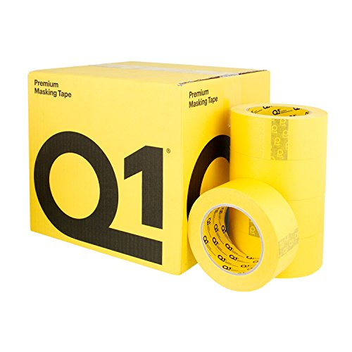 Q1 - 2 inch (48mm x 55m) Premium High Performance Automivite Yellow Masking Tape - High Temperature - Case of 20 Rolls
