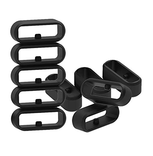 Replacement Fastener Rings Compatible with Garmin Fenix 5S/Fenix 5S Plus/Fenix 6S/Fenix 6S Plus Bands(Pack of 11) Silicone Connector Security Loop Keepers Ring for Fenix 5S Smartwatch,Black
