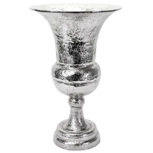 Amphore Silber, Handarbeit, 50 cm groß, mit Strukturfinish, Alu vernickelt, Vase, Pokalvase, Dekovase