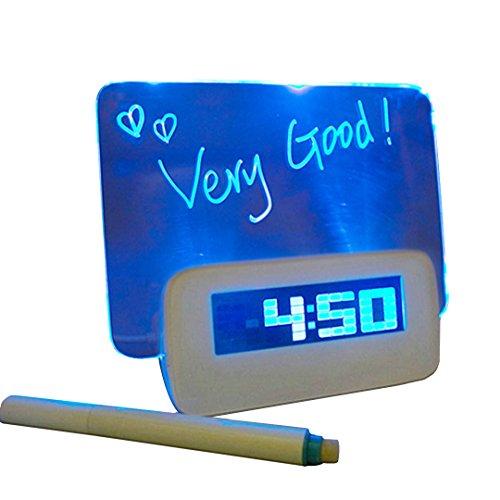 Milya LED-Blaulicht Clock Elektronische Leuchtstoffbrett romantische Karikatur LED-Wecker Kreative-USB/batteriebetriebene Message Board Alarm Wecker