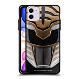 Head Case Designs Officially Licensed Power Rangers White MMPR Famous Helmet Black Hybrid Glass Back Case Compatible with Apple iPhone 11