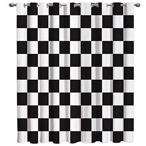 """SIMIGREE Blackout Window Curtains Simple Black and White Checkered Flag Window Treatment Darkening Thermal Insulated Curtains for Living Room Bedroom Window Drapes 52""""x72"""""""