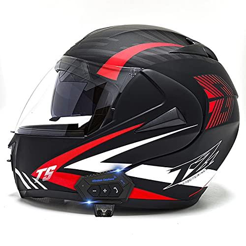 YALIXING Casco Moto Integral ECE/Dot Homologado Casco de Moto Scooter con Doble Visera Cascos Modular Flip Up Motocicleta Transpirable Y Cómodo para Mujer Hombre Adultos(Size:S (55-56CM),Color:B-1)