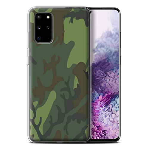 Phone Case for Samsung Galaxy S20 Plus Military Camo Camouflage Tropical Retro ERDL Design Transparent Clear Ultra Soft Flexi Silicone Gel/TPU Bumper Cover