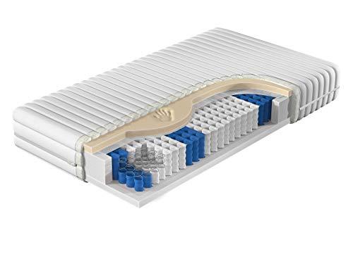 Matratze NASA, Visco-Memory Schaumstoff, Zweiseitig Taschenfederkern matratze, 7-Zonen Matratze, Liegehärten H3, Bezug waschbar, Beidseitigematratze (90 x 200 cm)