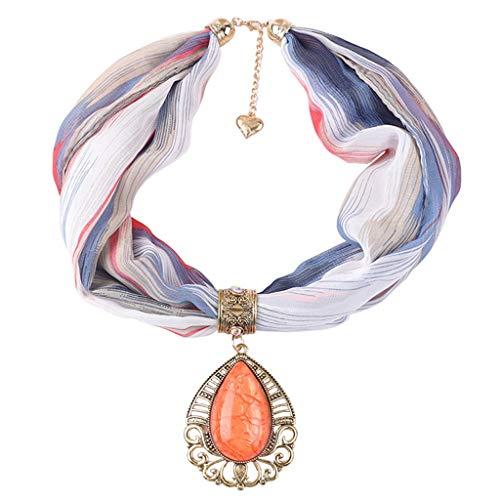 LENXH Women's Gemstone Pendant Necklace Fashion Color Bib Ethnic Wind Scarf Jewelry Scarf Necklace Orange