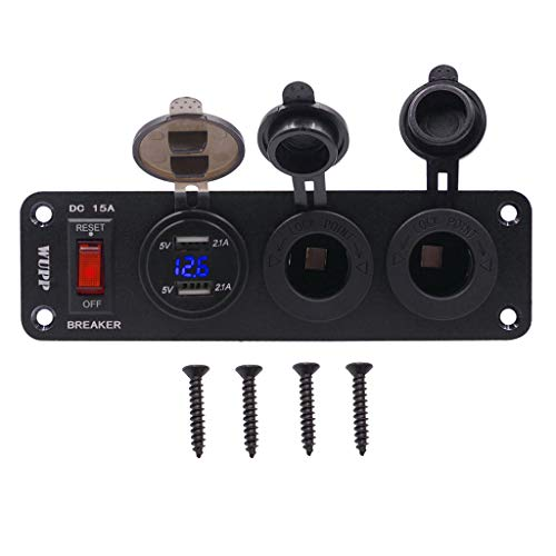 Gjyia - Voltímetro LED para coche, 12 V, 24 V, impermeable, 2,1 A, doble puerto de carga USB, 2 enchufes de encendedor de cigarrillos con interruptor de encendido de 15 A para teléfono móvil, GPS