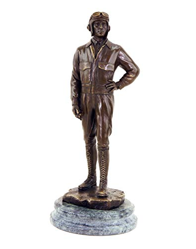 Piloten sculptuur - Pilot - vliegenbeeld uit de 1e Wereldkrijg - gesigneerde bronzen figuur - hoogte: 31 cm - breedte: 13 cm - 100% brons - Soldaat - Vintage - Kunst online kopen