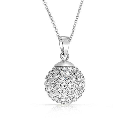 Crystals from Swarovski 18 kt placcato oro Disco Palla Bianco Collana con ciondolo per donne 45 cm Pendente in argento S925
