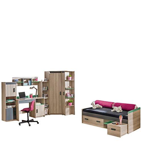 Jugendzimmer Set Ultimo IV, inkl. 3X Regal, Bett, Schreibtisch, Wandregal, Eckkleiderschrank, 7-TLG. komplett, Kinderzimmer Set (Coimbra Esche/Anthrazit + Grün, ohne Matratze)