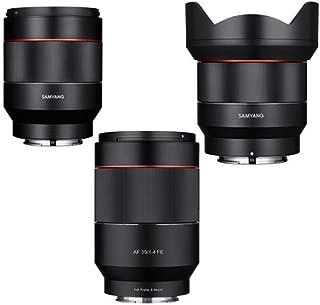 SAMYANG Sony E Mount Full Frame Auto Focus Lens Bundle Includes 14mm F2.8 AF Wide AngleLens, 35mm f/1.4 Lens, 50mm f/1.4-16 FE Lens