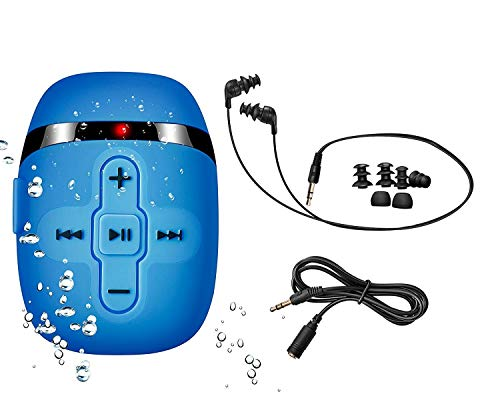 Sewobye Waterproof MP3 Player for Swimming, Waterproof Headphones with Short Cord, mp3 Waterproof Swimming Underwater 3 Meter, Shuffle Feature (Blue)
