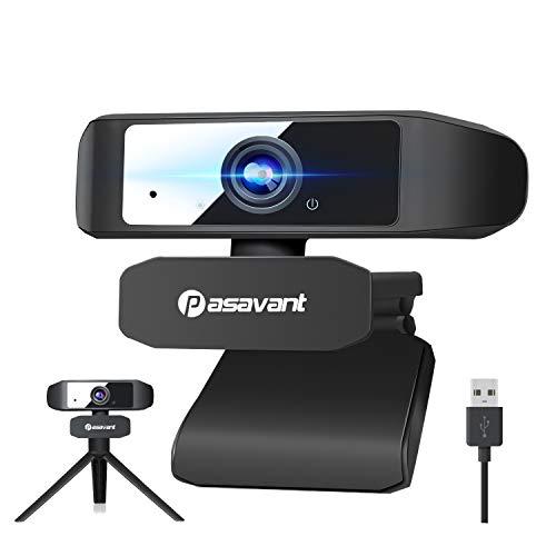 Pasavant Webcam mit Mikrofon Full HD 1080P Webcam für PC, Laptop, Computer USB Webkamera Plug & Play Webcam für Videoanrufen Aufzeichnungskonferenzen, Live-Streaming, Online-Unterricht, Spiel