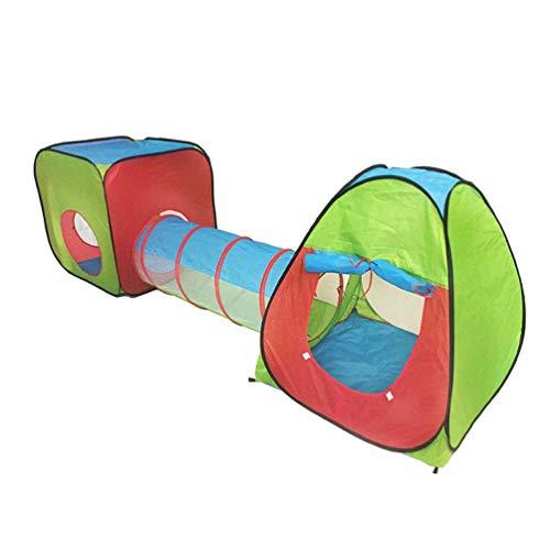 Shuang Babyzelt krabbeltunnel ,Tente Pour Enfants Rouge Vert Bleu Ensemble de Trois pièces 3en1 Ocean Ball Game House House Tunnel Ball Pool Pool Roof Passage