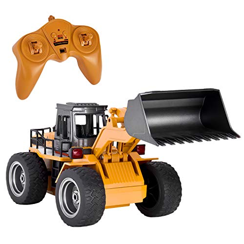 GotechoD Remote Control Construction Toy RC Truck Alloy Shovel 2.4G RC Vehicle Remote Control Trucks RC Bulldozer 1/18 6 Channel 4WD Tractor RC Front Loader Toys for 6-15 Years Old Boys Kids Gift
