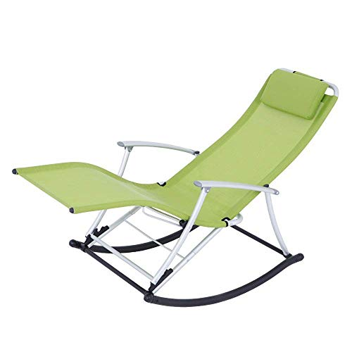 AJH Rocking Chair with Pillow, Zero Gravity Patio Lawn Chair Beach Reclining Folding Chairs Outdoor Portable Recliner for Camping Fishing, Weight Capacity 300LB
