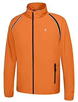 Little Donkey Andy Men s Quick-dry Running Jacket Convertible UPF 50+ Cycling Jacket Windbreaker with Removable Sleeves Orange Size L