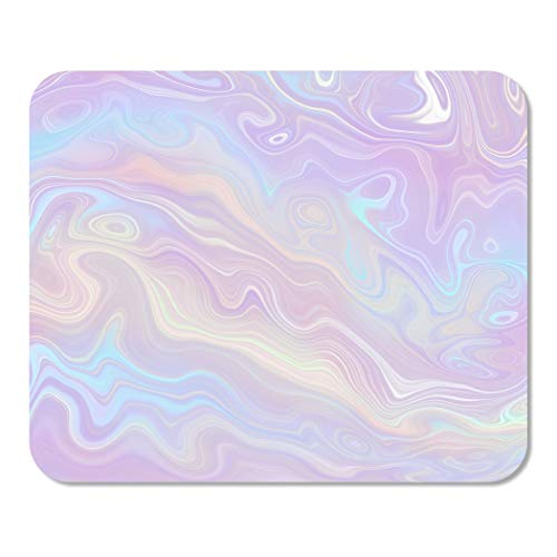 Suike Mousepad Computer Notepad Office Pastel Holographic Multicolor Opal Agate Marble Nacre Fluid Marbling Home School Game Player Computer Worker 9.5x7.9 Inch