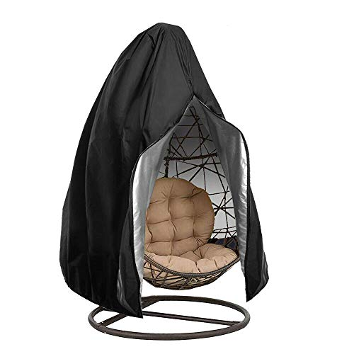 Garden Hanging Chair Cover,Patio Chair Dust Waterproof UV Protector Swing Chair Cover With Zipper For Outdoor Egg Chair, Swing Chair, Rattan Furniture (Black)