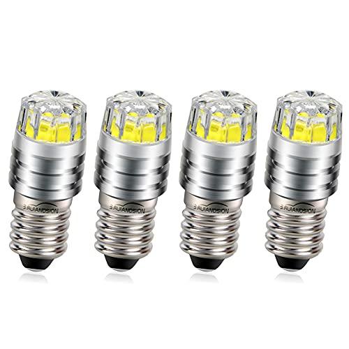 Ruiandsion 4pcs E10 LED Birne 6V COB 2W Upgrade Ersatz für Taschenlampe Fahrrad Rücklichter, Weiß