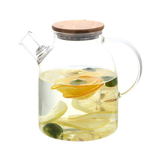 54 Ounces Glass Pitcher with Lid, Hot/Cold Water Carafe, Juice Jar and Iced Tea Pitcher, Glass...
