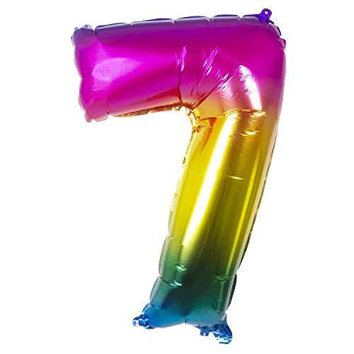 Globo con número 7 arco iris 86 cm