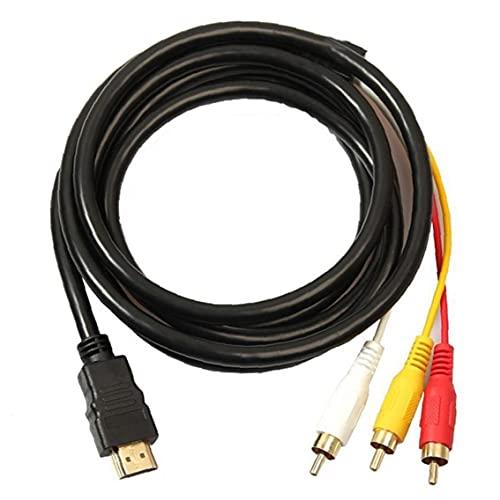HDMI a RCA 3 Cable HDMI a RCA Convertidor adaptador Cable Cable Transmisor Transmisión de una sola vía desde HDMI a RCA 1.5M Accesorios para computadora