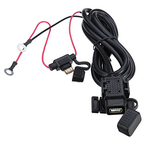 Meipire Cargador de coche impermeable para moto, 12-24 V CC, 2,1 A, USB, para teléfono móvil, navegador, walkie-talkie