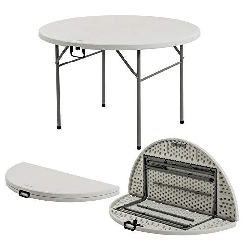Mesa plegable de caballete - Fácil de guardar - Para uso en interiores y exteriores - Redonda - 1,22m