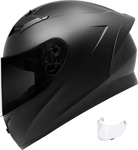 GDM VENOM Motorcycle Helmet Full Face Matte Black (Tinted & Clear Shields, Small)