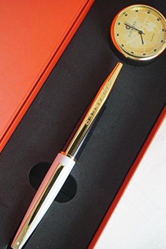 Sheaffer Limited Series Taranis Stormy White Feat - Bolígrafo de oro de 22 quilates y reloj de escritorio de Sheaffer dorado, regalo corporativo