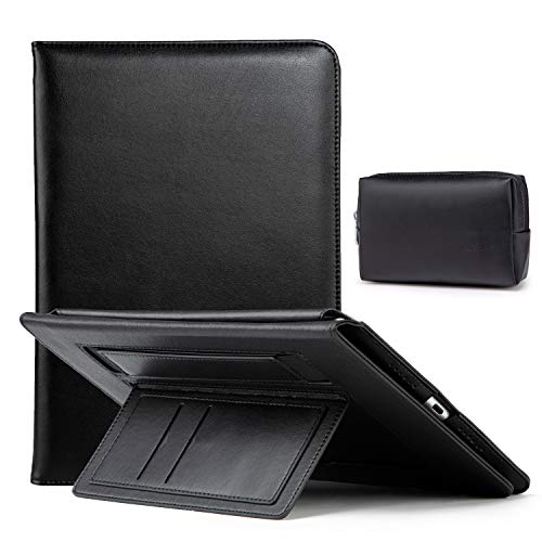 HYZUO 10.5 Inch Case Compatible with iPad Air 10.5/iPad Pro 10.5/iPad 10.2 Lambskin Leather Folio Smart Cover for iPad Air 3rd Gen 2019/iPad Pro 10.5 2017/ iPad 8th/7th Gen, Black(Built-in Hand Strap)