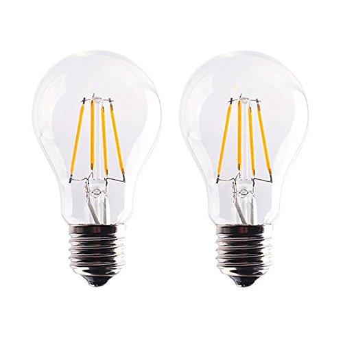 2X E27 Bombilla Edison Dimmable 4W Filament LED Blanco Cálido 2700K A60 Bombilla de Tungsteno 280LM Bombilla Retro Vintage AC 220V