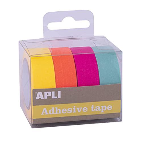 APLI - 18817 - Pack cintas adhesivas decorativas - papel tipo WASHI TAPE - colores flúor- 4 rollos- Cintas de 15 mm x 15 m