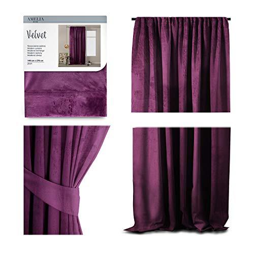 AmeliaHome Cortina de terciopelo con aspecto aterciopelado, 140 x 270 cm, color morado, 1 unidad, cinta fruncida, cortina opaca para ventana, ligera, brillante, decorativa, cortina decorativa