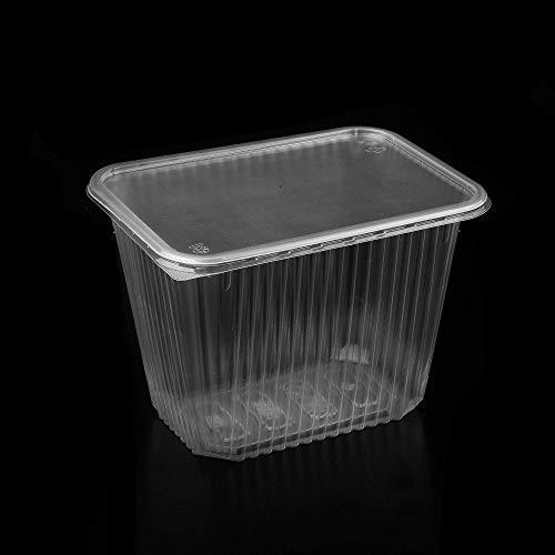 (Paquete de 100) 2000 ml PP Big Salad Containers Comida para llevar Comida rápida Caja desechable tapas de plástico visp Almacenamiento