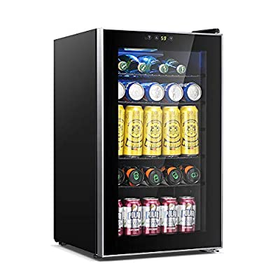 Kismile 85 Can Beverage Refrigerator Cooler,2.3 Cu.ft Mini Fridge with LCD Temperature Control for Soda,Beer or Wine,Drink Cooler Dispenser Counter top Refrigerator for Home,Office or Bar (Silver)