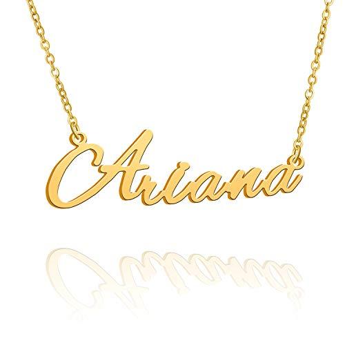 BUREI Collar con Nombre Grande Inicial Chapado en Oro joyería de Mejor Amiga Regalo de Mujer para Ella Ariana